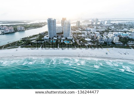 Beautiful coastline of Miami Beach shot from the air - stock photo
