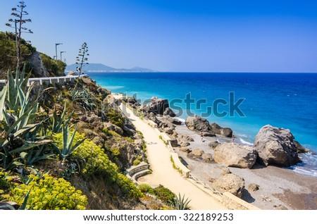 Beautiful coastline scenery in Rhodes - stock photo