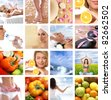 Beautiful collage about healthy eating and healthcare - stock photo