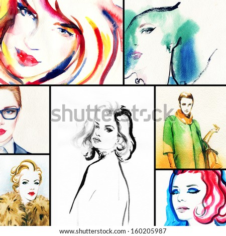 Beautiful collage , faces of women . Hand painted fashion illustration  - stock photo