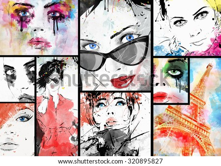 Beautiful collage , faces of women. Hand painted fashion illustration - stock photo