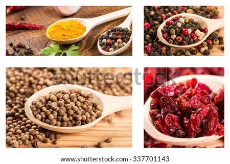 Beautiful collection of spices in wooden spoons on wooden background - stock photo
