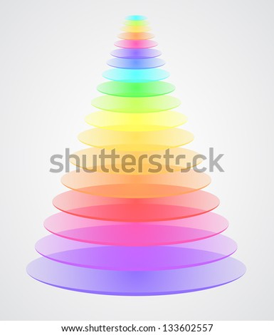 Beautiful color pyramid (raster copy of vector illustration) - stock photo