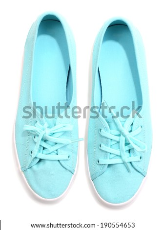 Beautiful color shoes, isolated on white - stock photo