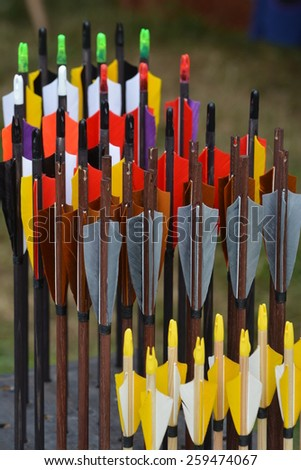 Beautiful colored arrows waiting to get shot at the target. - stock photo