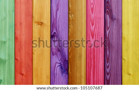 beautiful colored wooden boards in a row - stock photo