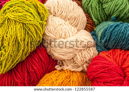 Beautiful colored wools. Abstract picture of wool texture. - stock photo