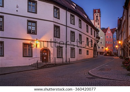Beautiful colorful buildings in Fussen, Bavaria. - stock photo