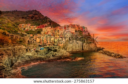 Beautiful colorful cityscape on the mountains over Mediterranean sea, Europe, Cinque Terre - stock photo