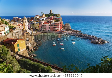 Beautiful colorful cityscape on the mountains over Mediterranean sea, Europe, Cinque Terre, traditional Italian architecture, Italy - stock photo