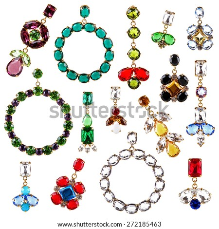 beautiful colorful crystal earrings collection isolated on white - stock photo