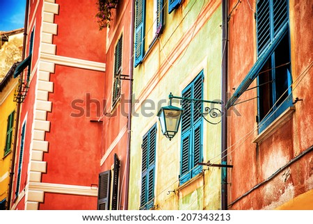 Beautiful colorful facade of Italian house, Portofino, Genoa, small fishing village, traditional European exterior decoration  - stock photo