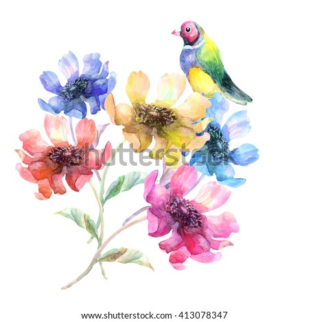 Beautiful colorful   flowers and colorful bird garland  - stock photo