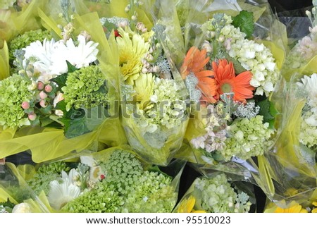 Beautiful Colorful Flowers in Flower shop - stock photo