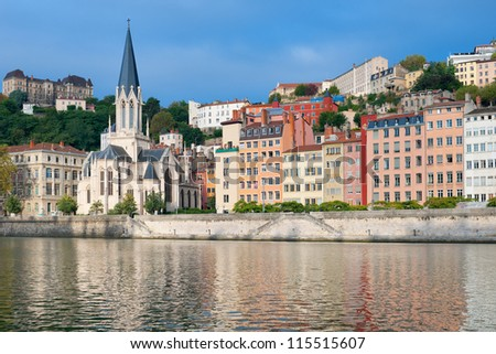 Beautiful colorful houses on the embankment in Lyon, France. - stock photo