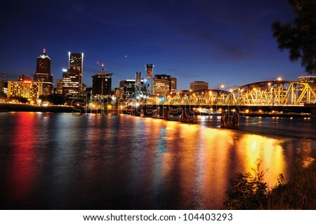 Beautiful colorful night view of portland - stock photo