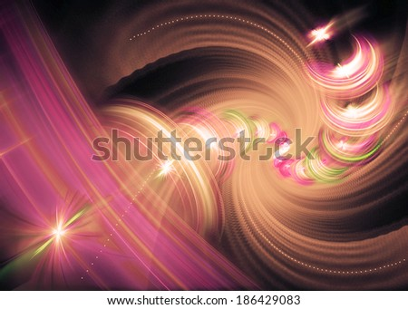 Beautiful colorful spiral. Digitally generated fractal pattern. Can be used as a design element or a background. The image contains black, purple, and pink colors. - stock photo