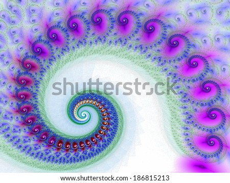Beautiful colorful spiral. Digitally generated fractal pattern. Can be used as a design element or a background. The image contains white, purple, and orange colors. - stock photo