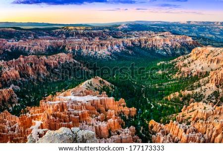 Beautiful colorful sunset at Bryce canyon National park, Utah, USA - stock photo