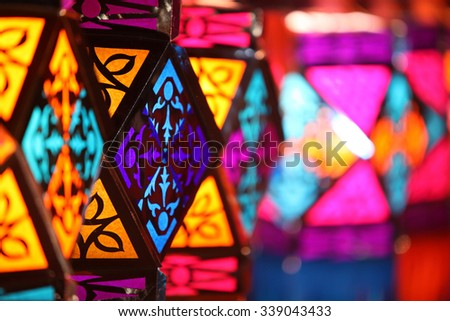 Beautiful colorful traditional lanterns for sale in a shop on occasion of Diwali / Christmas festival in India - stock photo