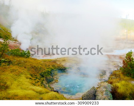 Beautiful colors in Yellowstone National Park, Wyoming, USA - stock photo