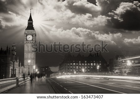 Beautiful colors of Big Ben from Westminster Bridge at Sunset - London. - stock photo
