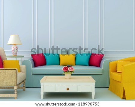 Beautiful composition of blue sofa and bright chairs with colorful pillows - stock photo