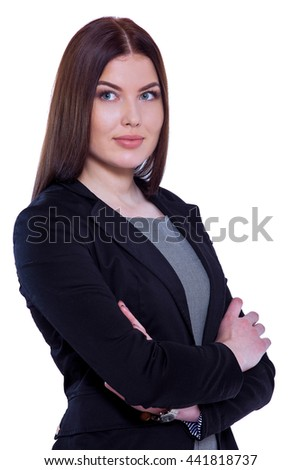 Beautiful confidence. Studio portrait of an attractive  businesswoman standing against a white background - stock photo