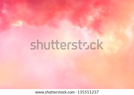 Beautiful coral sky with pink and red clouds - stock photo