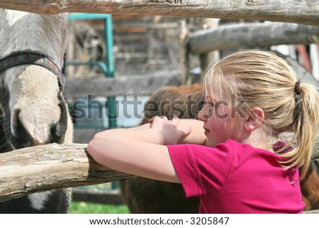 Beautiful country girl look at the horses - stock photo