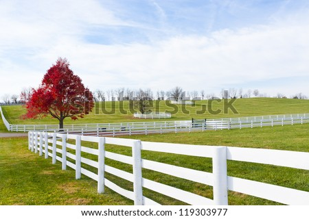 Beautiful country scenery on late autumn season. - stock photo