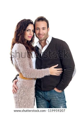 Beautiful couple isolated on white background - stock photo