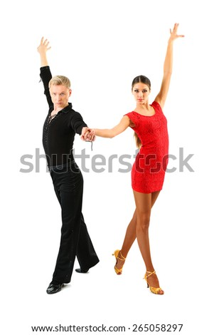 Beautiful couple of professional artists dancing isolated on white - stock photo