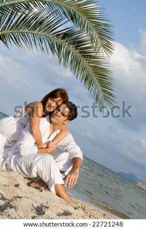 beautiful couple on vacations - stock photo