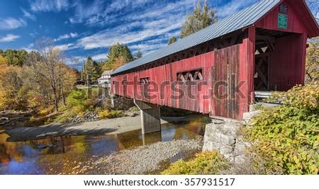 Beautiful covered bridge in Vermont, USA - stock photo