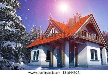 Beautiful Cozy Mountain Home in Winter in the Middle of Snowy Forest. Falling Snow. 3D Render Illustration. Modern Housing Illustration. Real Estate Theme. - stock photo