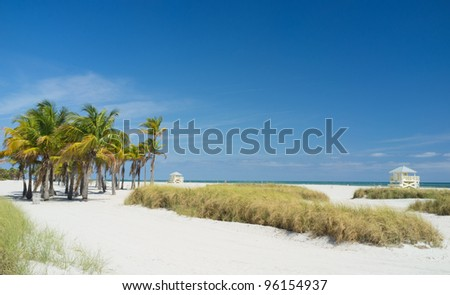 Beautiful Crandon Park Beach in Key Biscayne in Miami. - stock photo