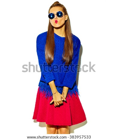 """beautiful crazy smiling brunette woman girl in casual hipster summer colorful clothes with red lips isolated on white  in sunglasses making funny """"fish-face"""" - stock photo"""