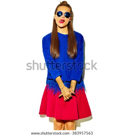 """beautiful crazy smiling brunette woman girl in casual hipster summer colorful clothes with red lips isolated on white  in sunglasses making funny """"fish-face"""" showing her tongue - stock photo"""