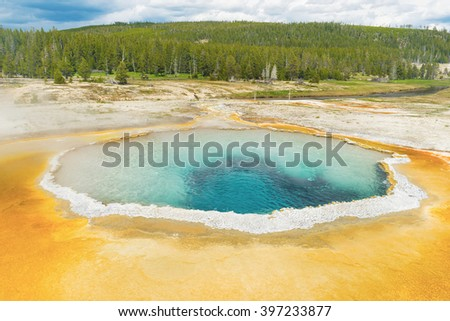 Beautiful Crested Pool in Upper Geyser Basin (Old Faithful Area). Yellowstone National Park, Wyoming. USA - stock photo