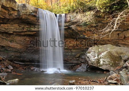 Beautiful Cucumber Falls is a 30-foot (9.1 m) bridal veil waterfall on Cucumber Run, Pennsylvania USA, a small creek which flows into the Youghiogheny River. It can be reached from Meadow Run Trail. - stock photo