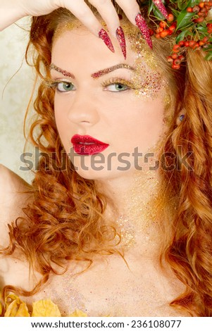 Beautiful curly hair woman  - stock photo