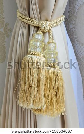 Beautiful curtain tassel background - stock photo