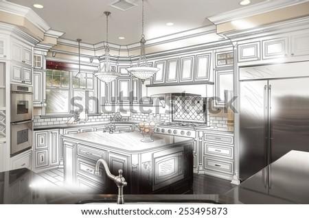 Beautiful Custom Kitchen Design Drawing and Photo Combination. - stock photo