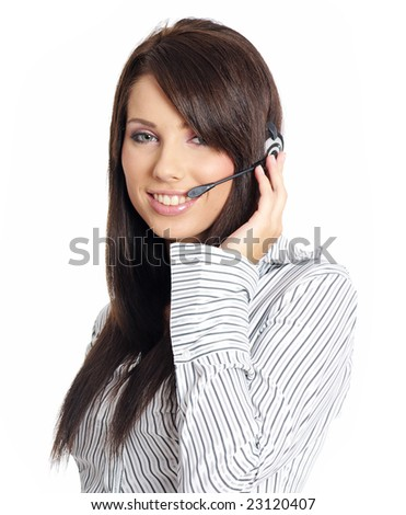 Beautiful Customer Representative with headset smiling during a telephone conversation - stock photo