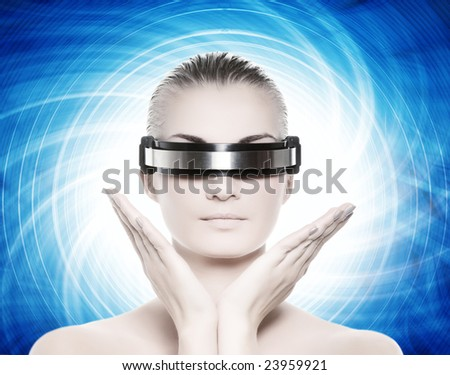 Beautiful cyber woman isolated on abstract blue background - stock photo
