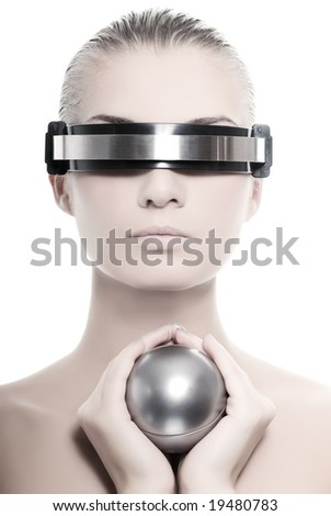 Beautiful cyber woman isolated on white background - stock photo