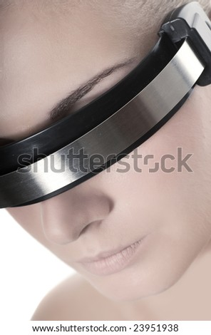 Beautiful cyber woman's face isolated on white background - stock photo