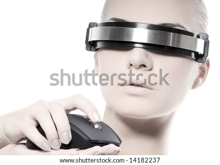 Beautiful cyber woman with computer mouse isolated on white background - stock photo