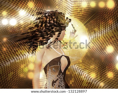 Beautiful 3d woman dancing on abstract shining background. - stock photo